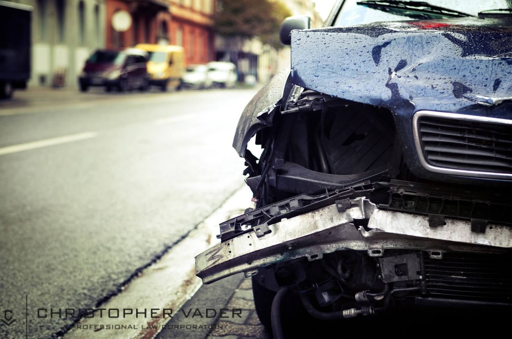 Close up of a car after a car accident